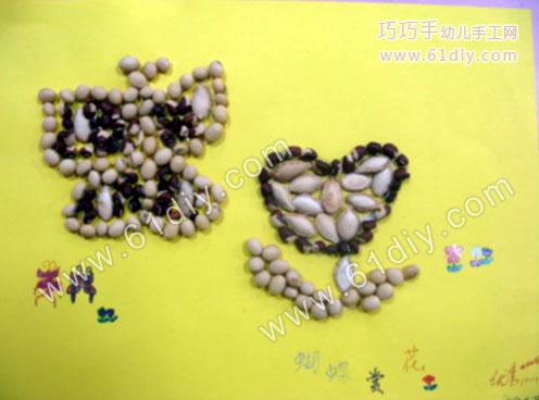 种子贴画 蝴蝶和花